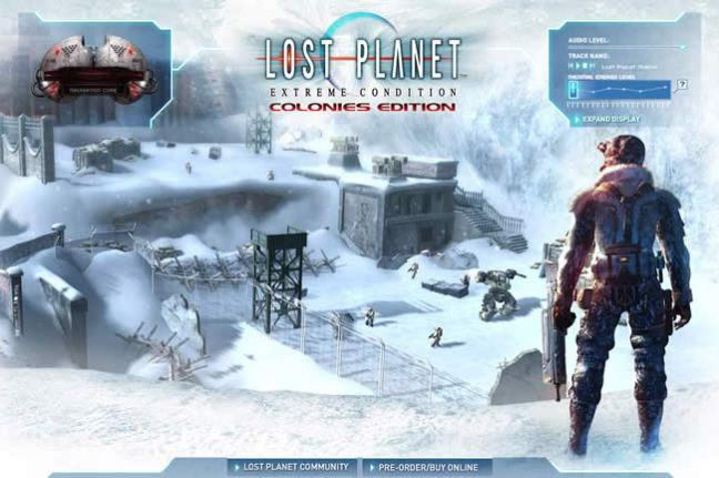 Lost Planet video game website design example