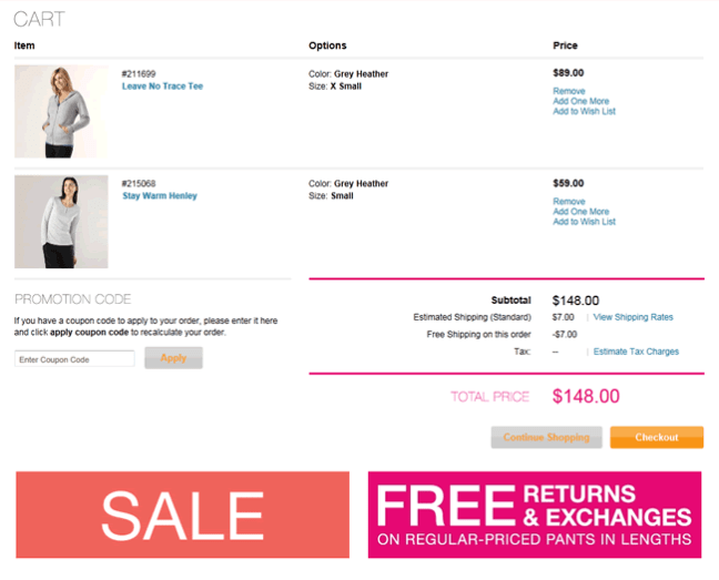 lucy ecommerce shopping cart design example