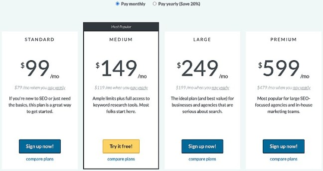 Moz pricing plan table