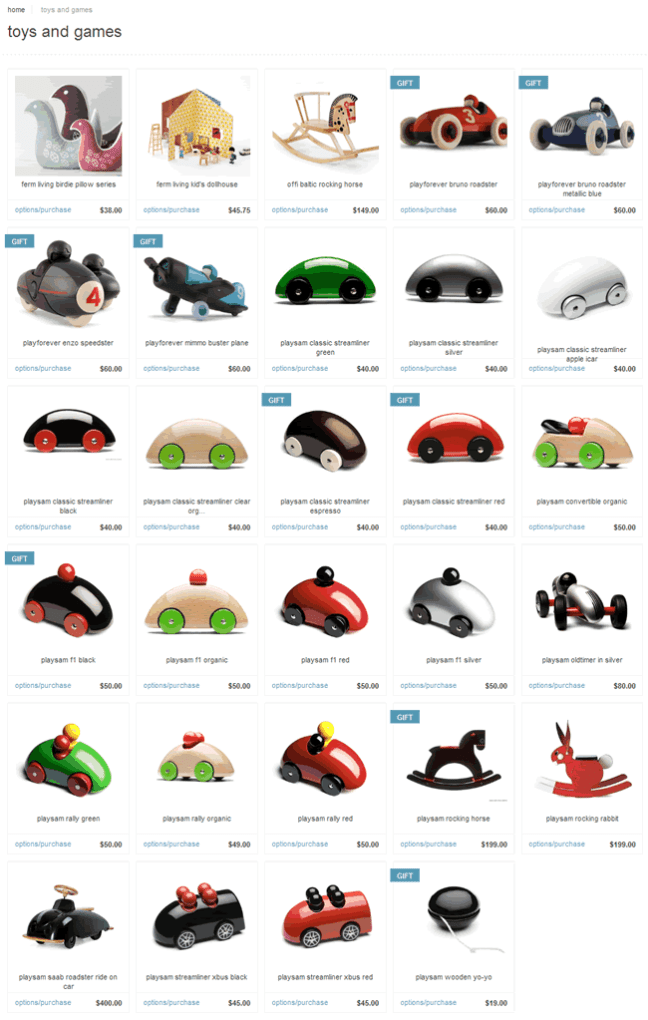 nestliving ecommerce gallery page design example