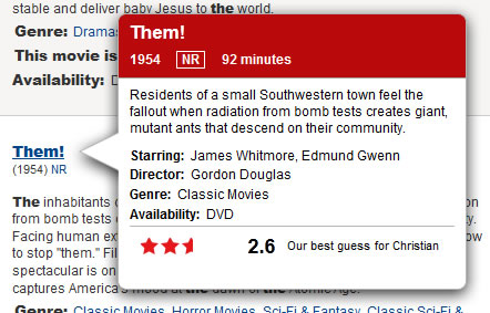 Netflix web tooltip design example