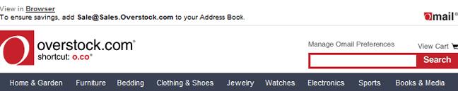 Overstock email header design example