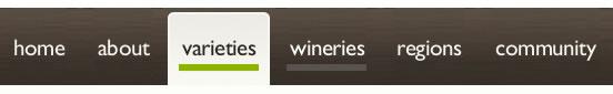 Project Vino website navigation design example