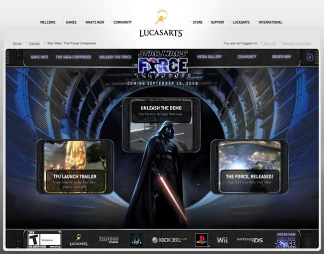 Star Wars: Force Unleashed video game website design example