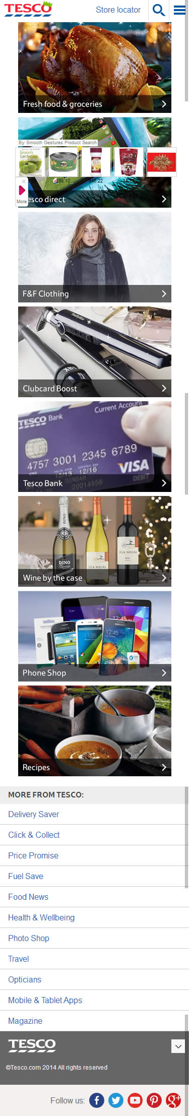 Tesco ecommerce mobile home page design example