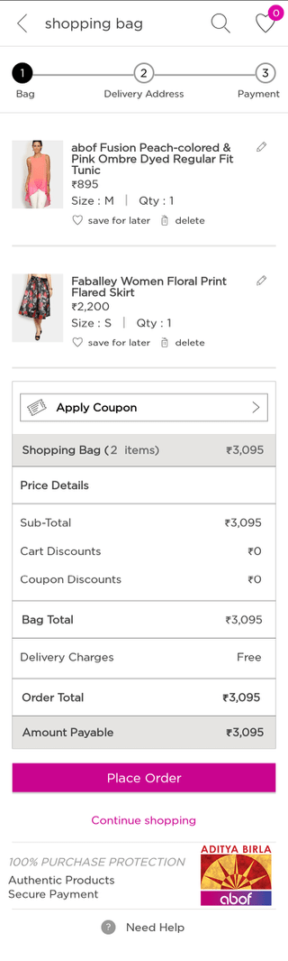 Abof mobile shopping cart (Android app)