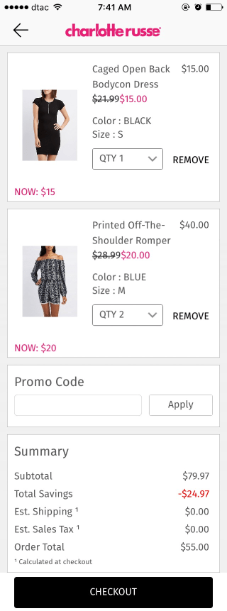 Charlotte Russe mobile shopping cart design