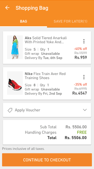 Jabong mobile shopping cart (Android app)