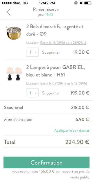 La Redoute mobile shopping cart (iPhone app)