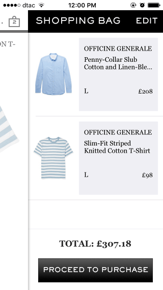 Mr Porter mobile shopping cart (iPhone app)
