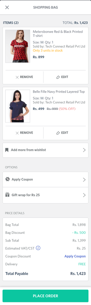 Myntra mobile shopping cart (Android app)