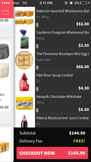 RedMart mobile shopping cart (iPhone app)
