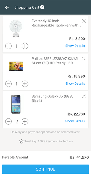 Snapdeal mobile shopping cart (Android app)