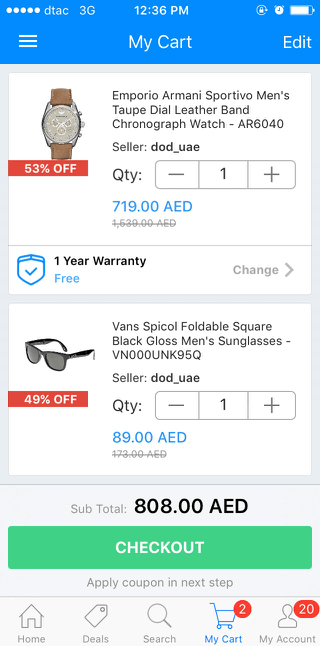 Souq mobile shopping cart (iPhone app)