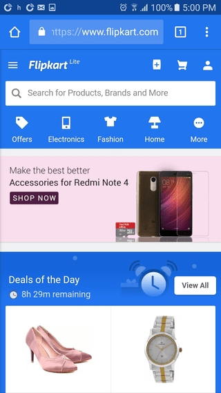 You can't miss Flipkart's mobile site search box