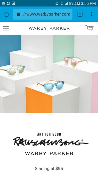 Warby Parker mobile website home page