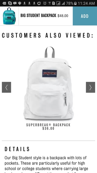 Jansport add to cart sticky button on mobile PDP