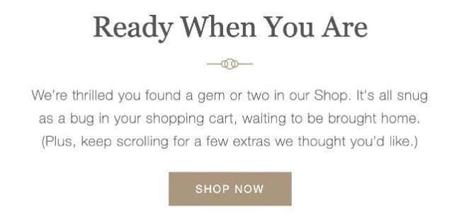 Food52 abandoned cart email copywriting
