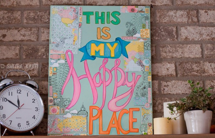 Happy Colorful Mixed Media Canvas Tutorial