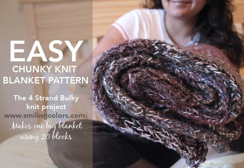 Easy Chunky Knit Blanket Pattern: 4 strands of yarn - Smitha Katti