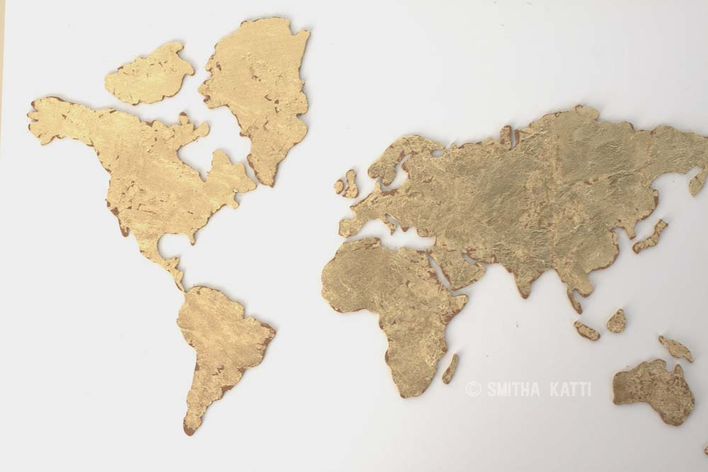 Diy world map wall art that is easy to make and unique smitha katti diy world map wall art gold gumiabroncs Gallery