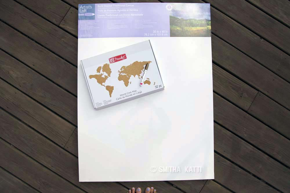 diy world map wall art canvas
