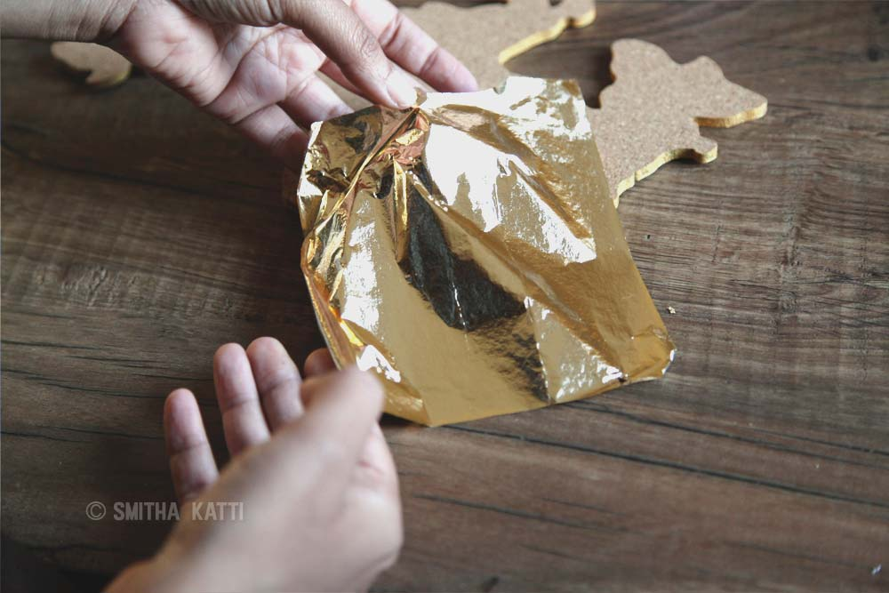 Diy world map wall art that is easy to make and unique smitha katti diy world map wall art gold leaf gumiabroncs Choice Image