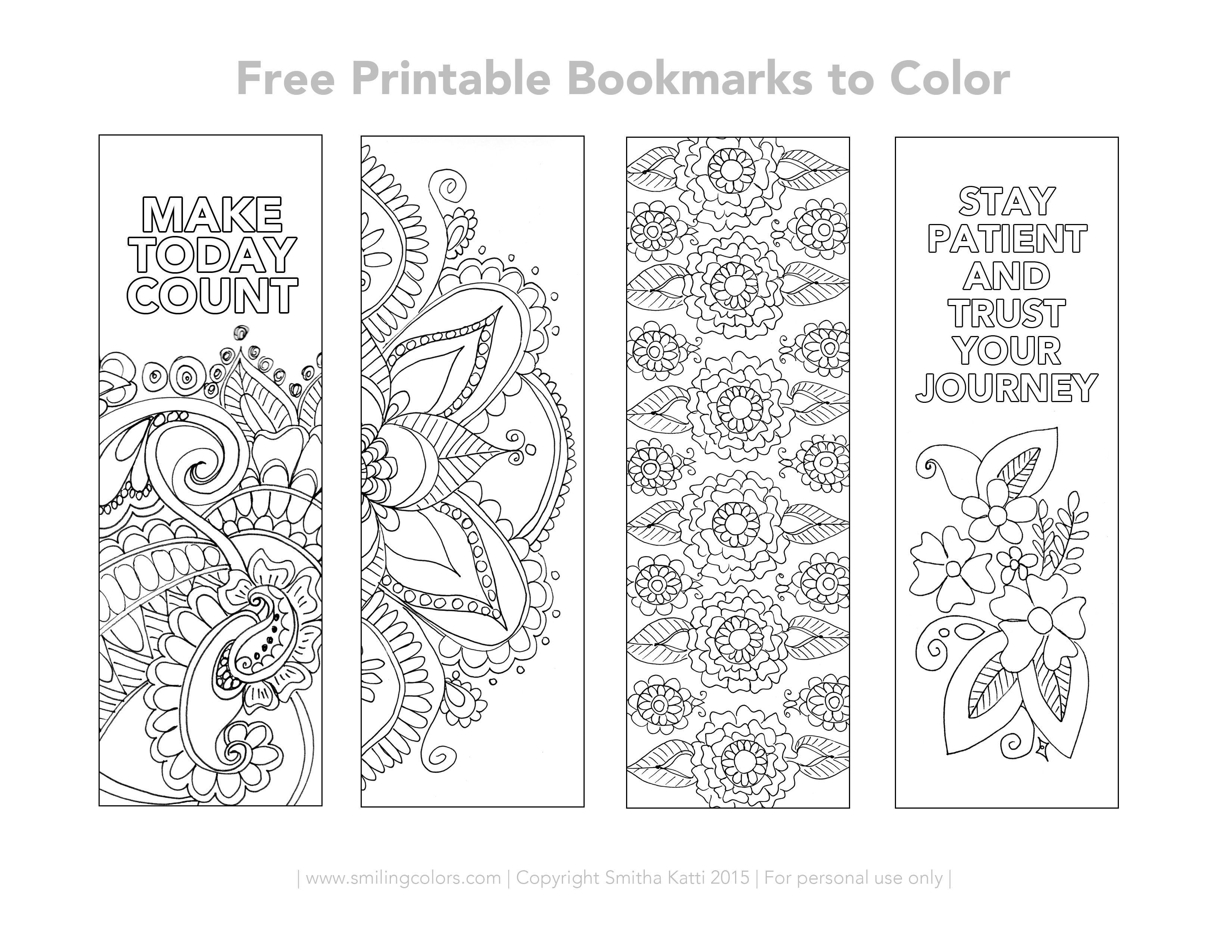 Bookmarks To Color Free Printable