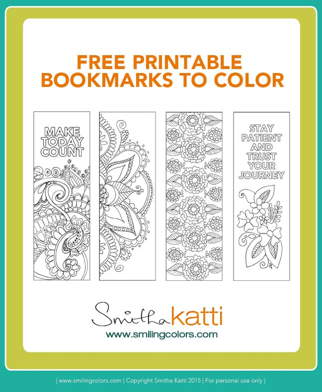 Free Printable Bookmarks to color - Smitha Katti