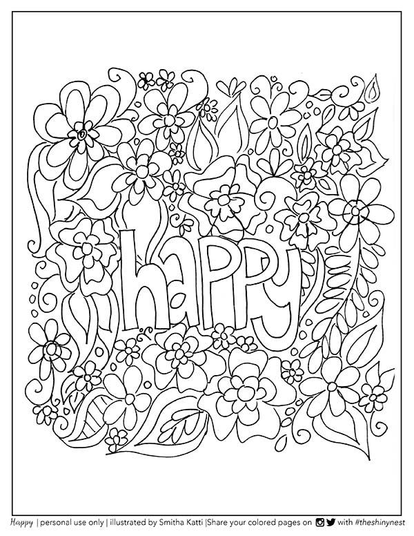 happy coloring page printable
