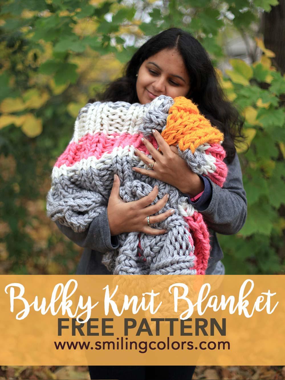 Bulky knit blanket free pattern using 3 strands of yarn