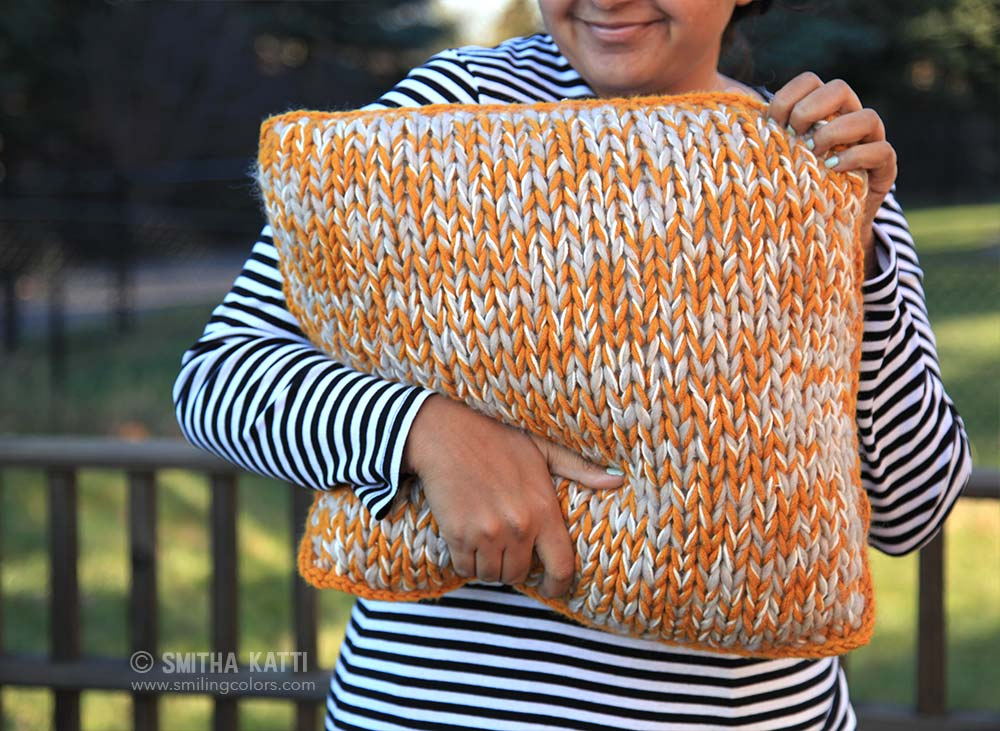 How to make a quick chunky knit pillow