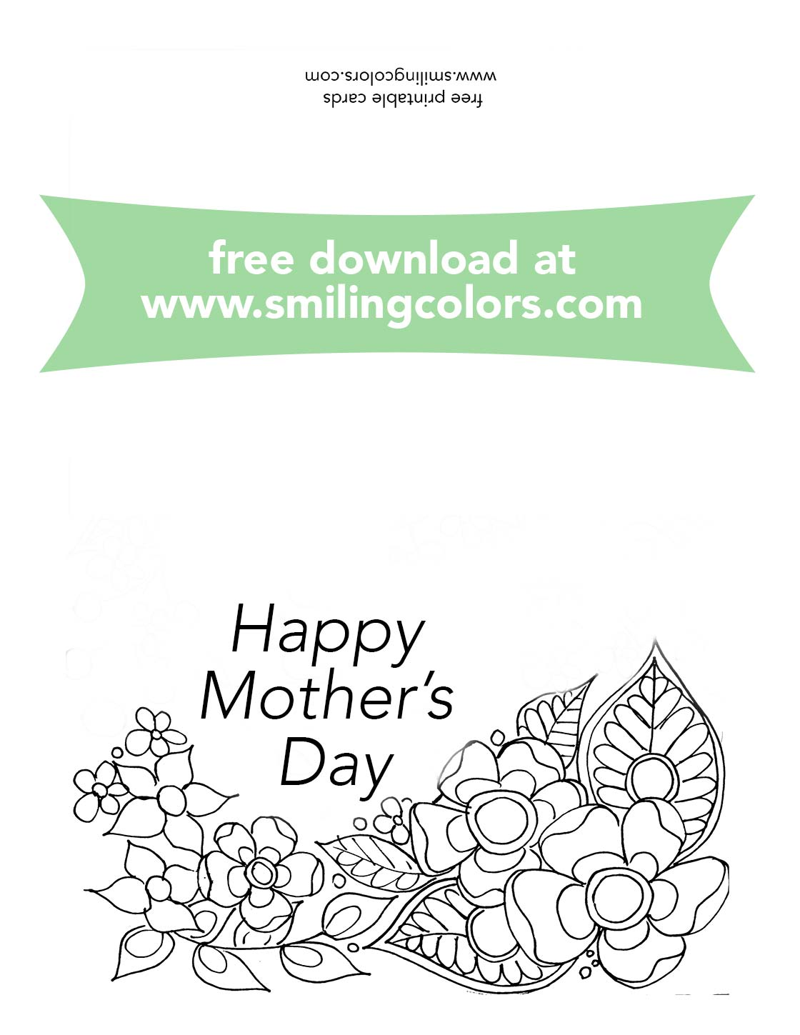 Free Printable Mothers Day Card to color, print these at ...