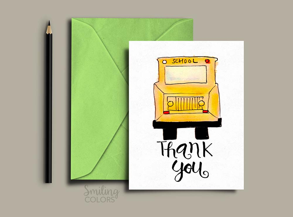 picture about Bus Driver Thank You Card Printable identify Thank your self card for Instructor and Higher education Bus Driver with No cost