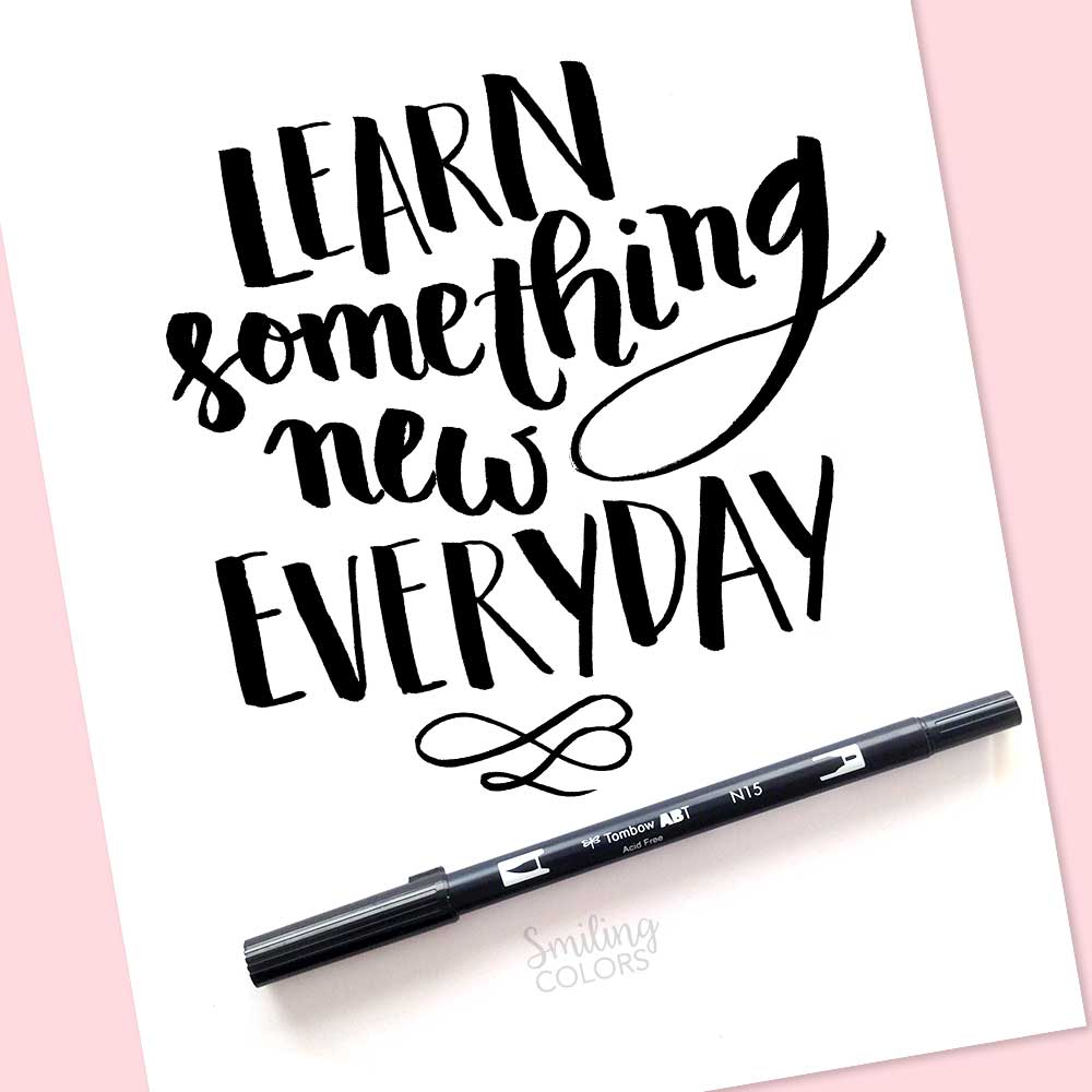 free brush lettering printable learn something new