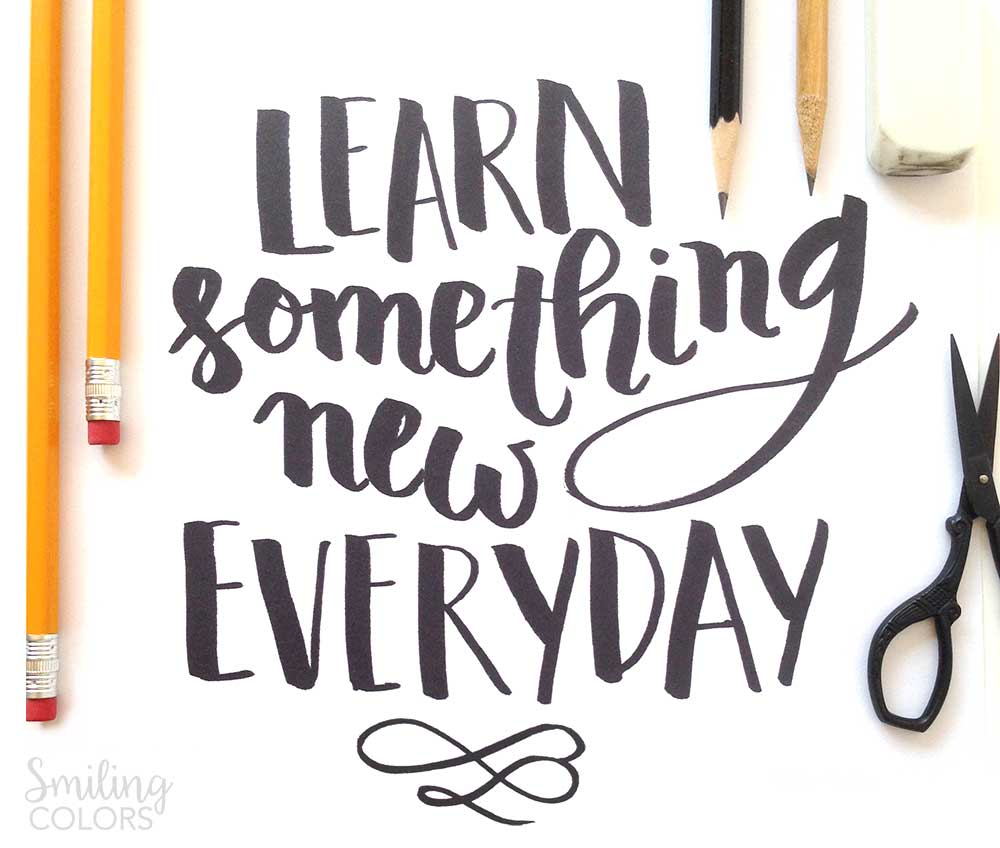 FREE Brush Lettering printable: Learn something new - Smitha