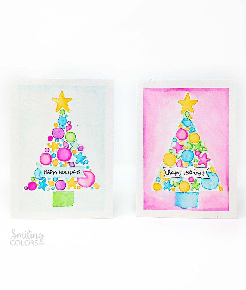 watercolor christmas card tutorial with free template