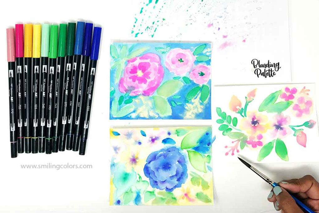 3 Ways To Watercolor With Tombow Markers Smitha Katti