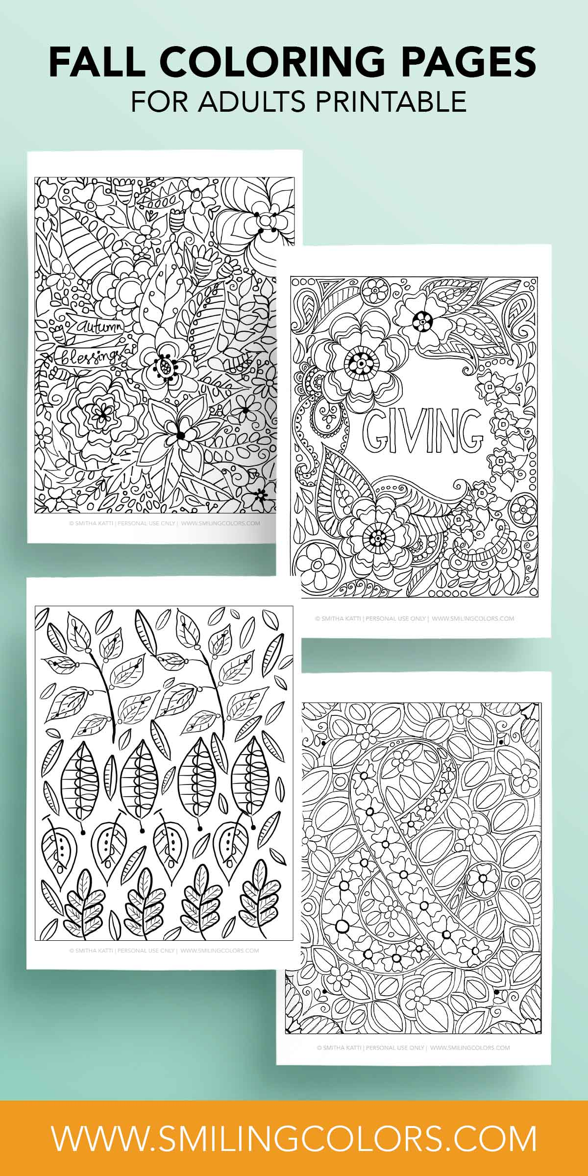 Fall coloring pages for adults printable - Smitha Katti