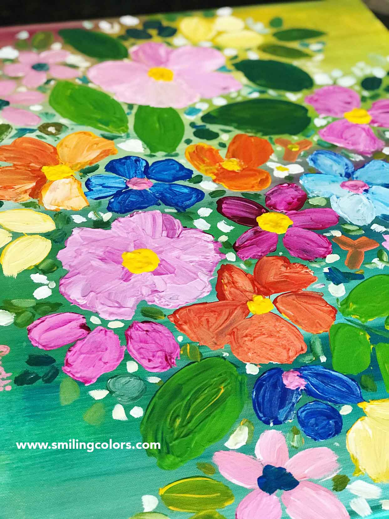 Step By Step Acrylic Painting Tutorial For Easy Flowers Smitha Katti