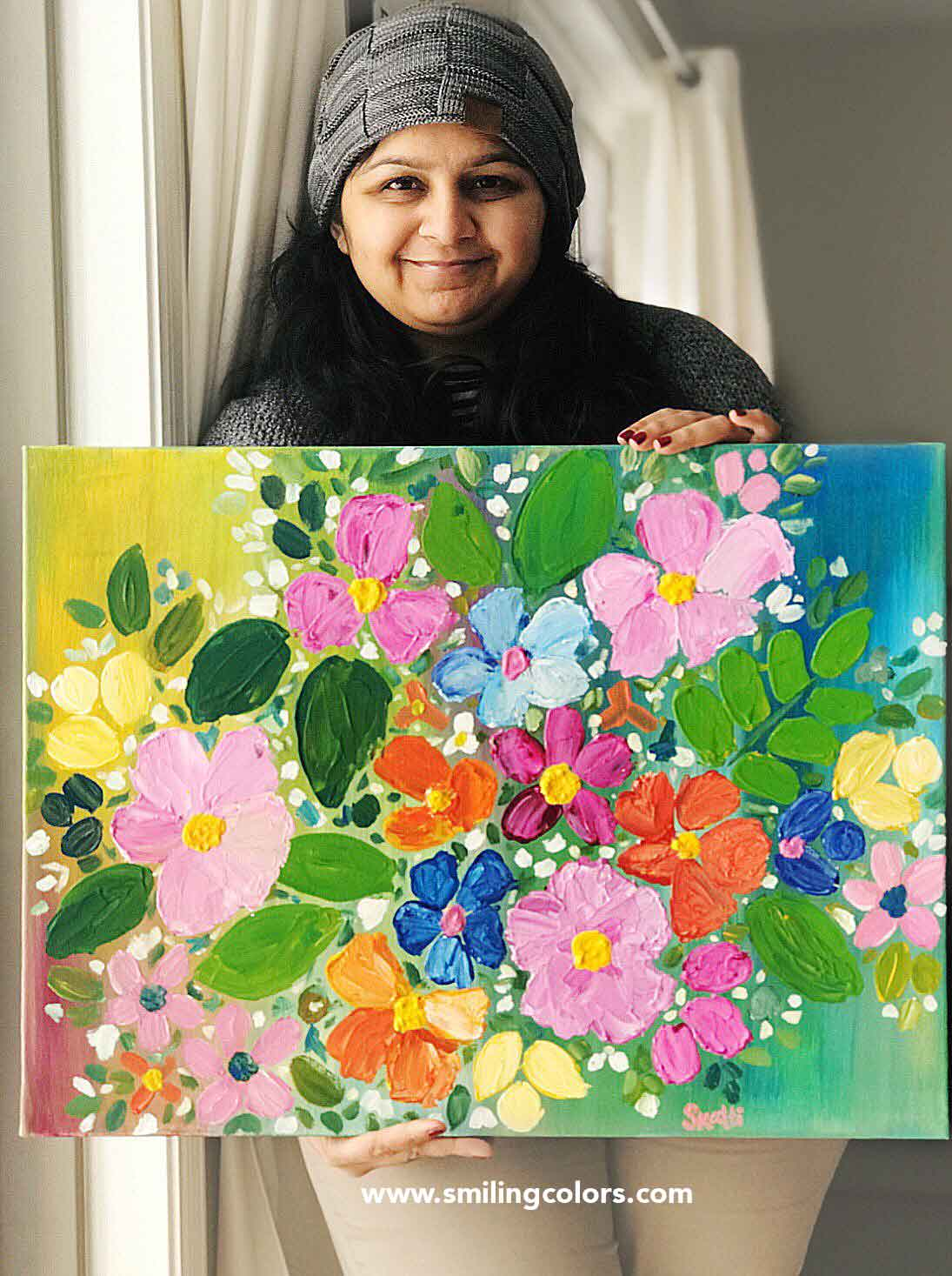 Step by step acrylic painting tutorial for easy flowers ...