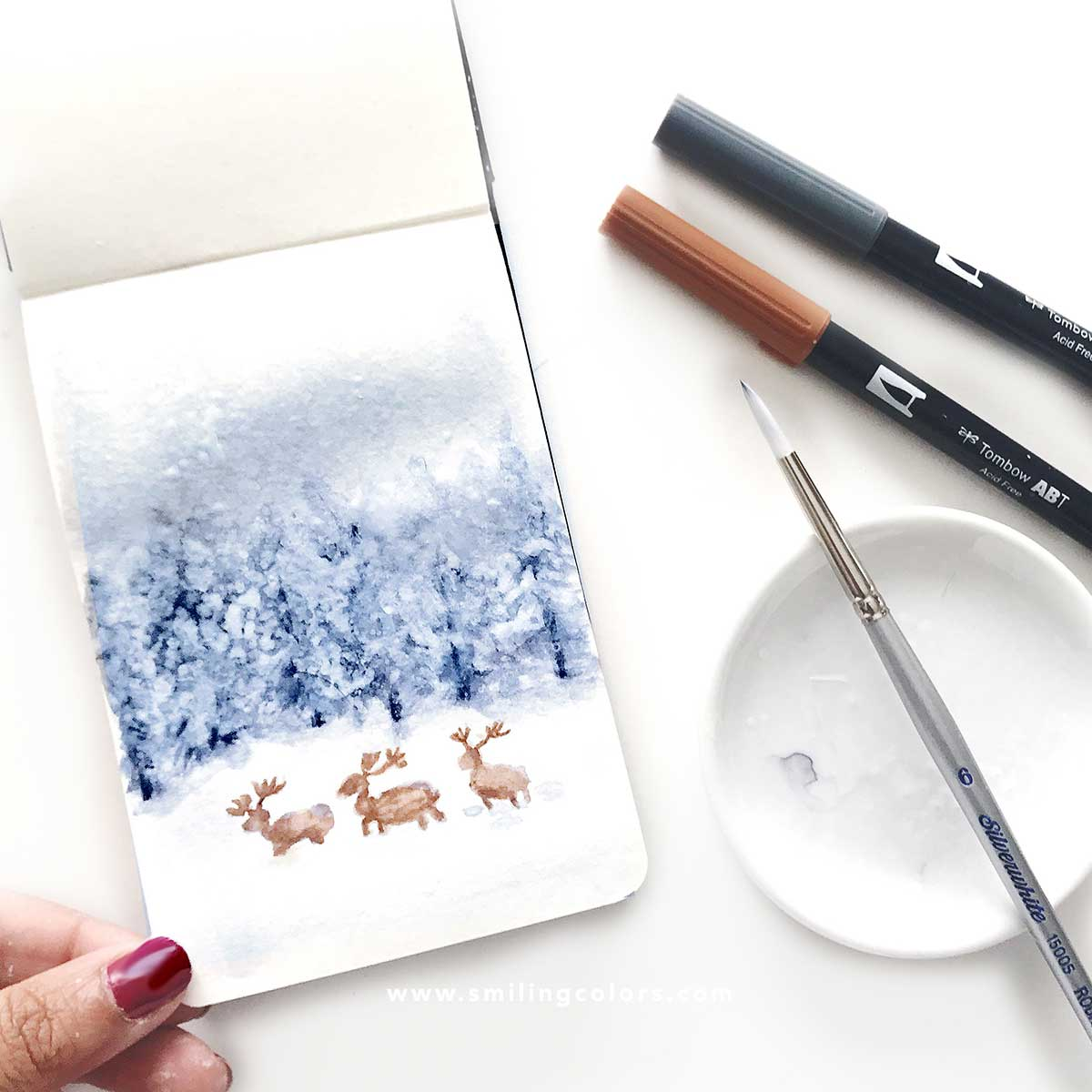 How To Paint A Winter Watercolor Scene Tutorial Video