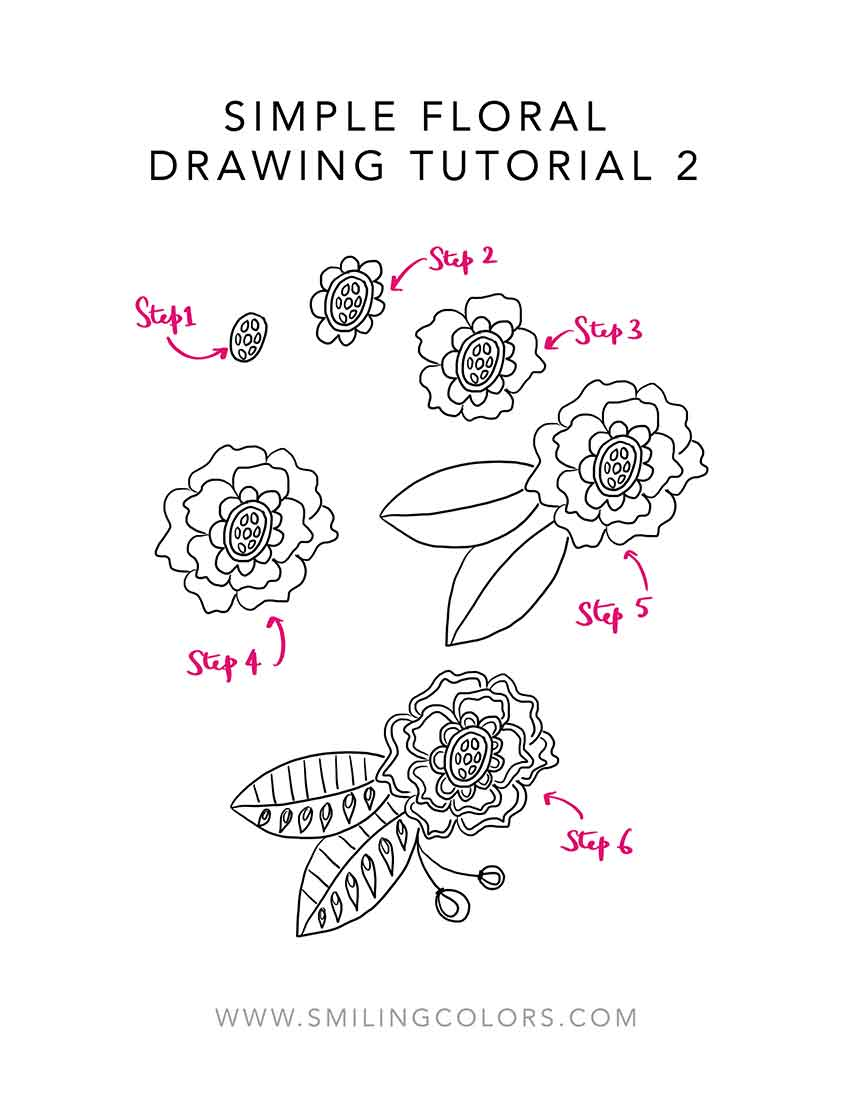 Easy Step By Step Tutorial For Simple Floral Drawings With
