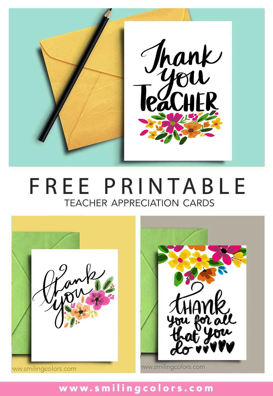 Thank you teacher: A set of 4 FREE printable note cards - Smitha Katti