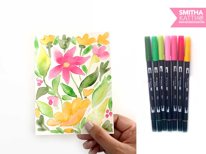 Simple Watercolor Flowers Using Tombow Dual Brush Pens