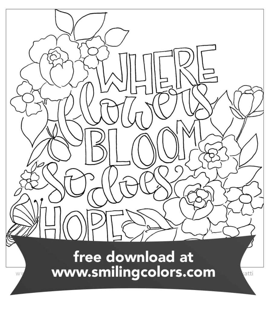Inspirational Coloring Page FREE Printable Download - Smiling Colors
