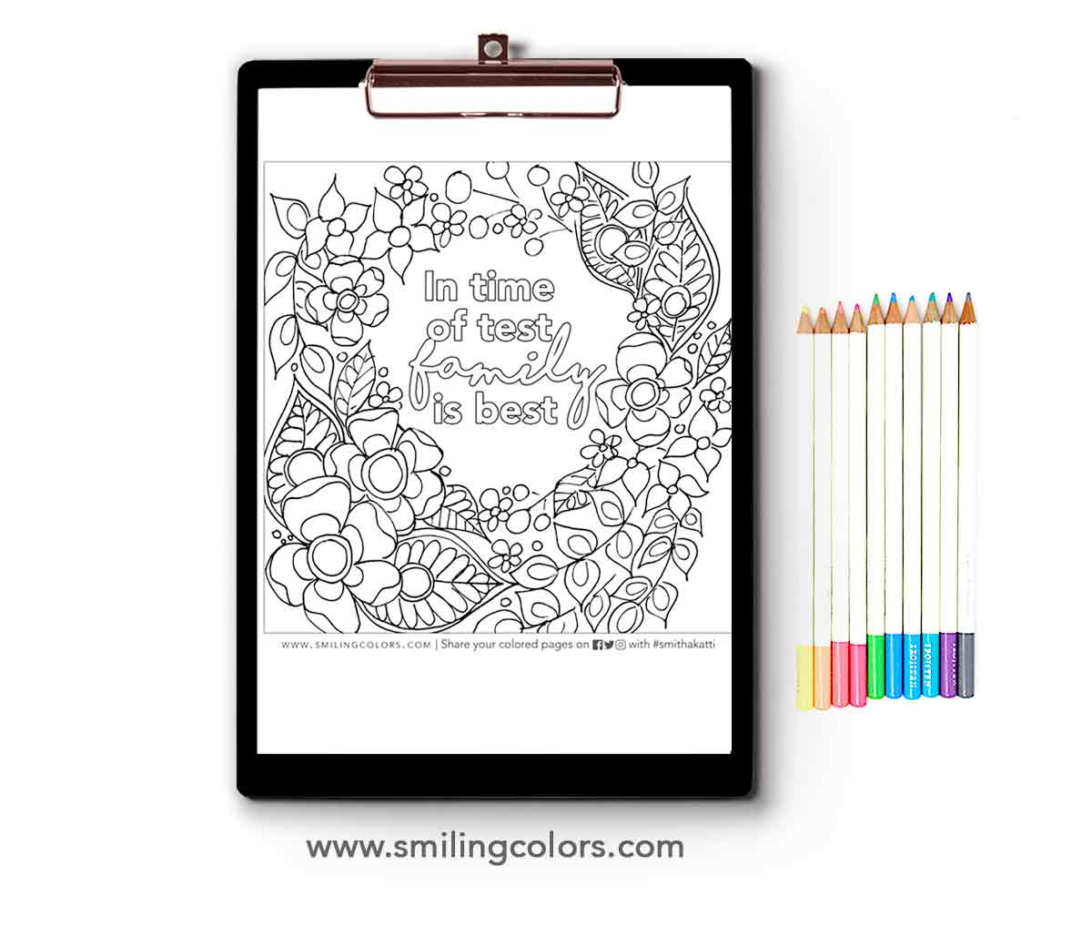 Family Quote Coloring Page: Print It And Enjoy Coloring - Smitha Katti