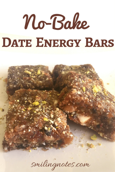 These healthy No-Bake Date Energy Bars Dates are perfect as a mid-afternoon snack or you can even carry it on the go. Guilt free and Vegan - a perfectly healthy treat to satisfy those sweet cravings.