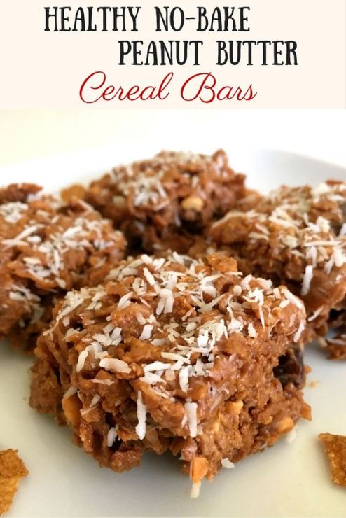 Healthy No-Bake Peanut Butter Cereal Bars
