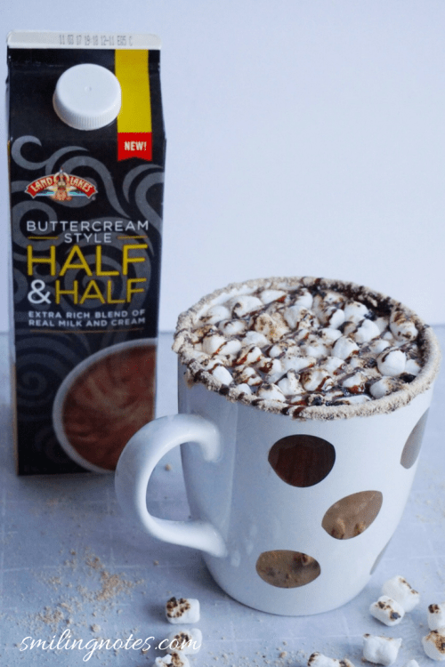 creamy s'mores hot chocolate recipe using half and half